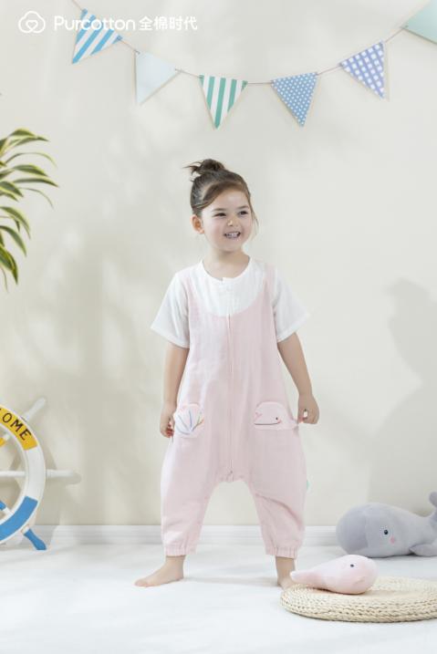 全棉时代婴童纱布短袖分腿睡袋